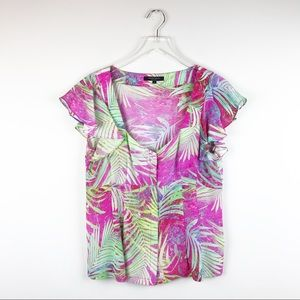 NEW Nanette Lepore Palm Sultry Silk Blouse Size 12